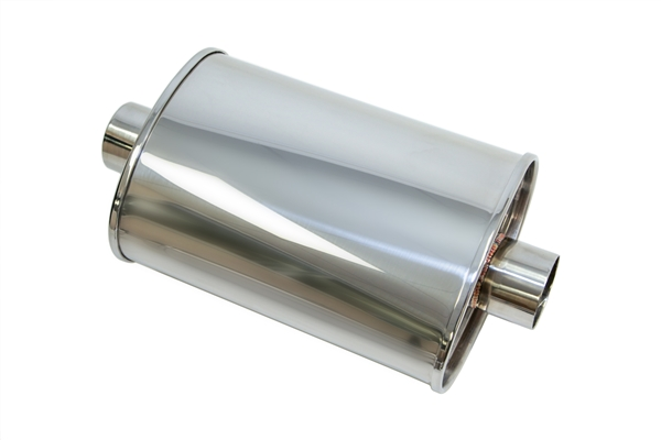 """Yonaka T304 Polished Stainless Steel 3/"""" High Flow Exhaust Performance Muffler"""